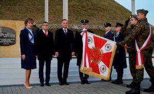 Prezydent Sława Umińska-Duraj, Wojewoda Śląski Jarosław Wieczorek i Prezydent RP Andrzej Duda przy Kopcu Wyzwolenia