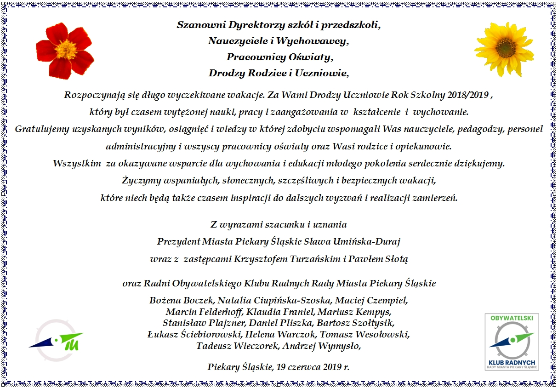 Zyczenia I Podziekowania Na Zakonczenie Roku Szkolnego 2018 2019 I